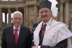 The president of the Central Council of Jews in Germany, Dr. Josef Schuster, with the vocational director of the Abraham Geiger College's Cantorial School, Cantor Isidoro Abramowicz.