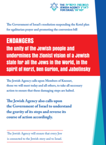 Jewish Agency ad Against the Israeli Government's Kotel and Conversion Cancellation