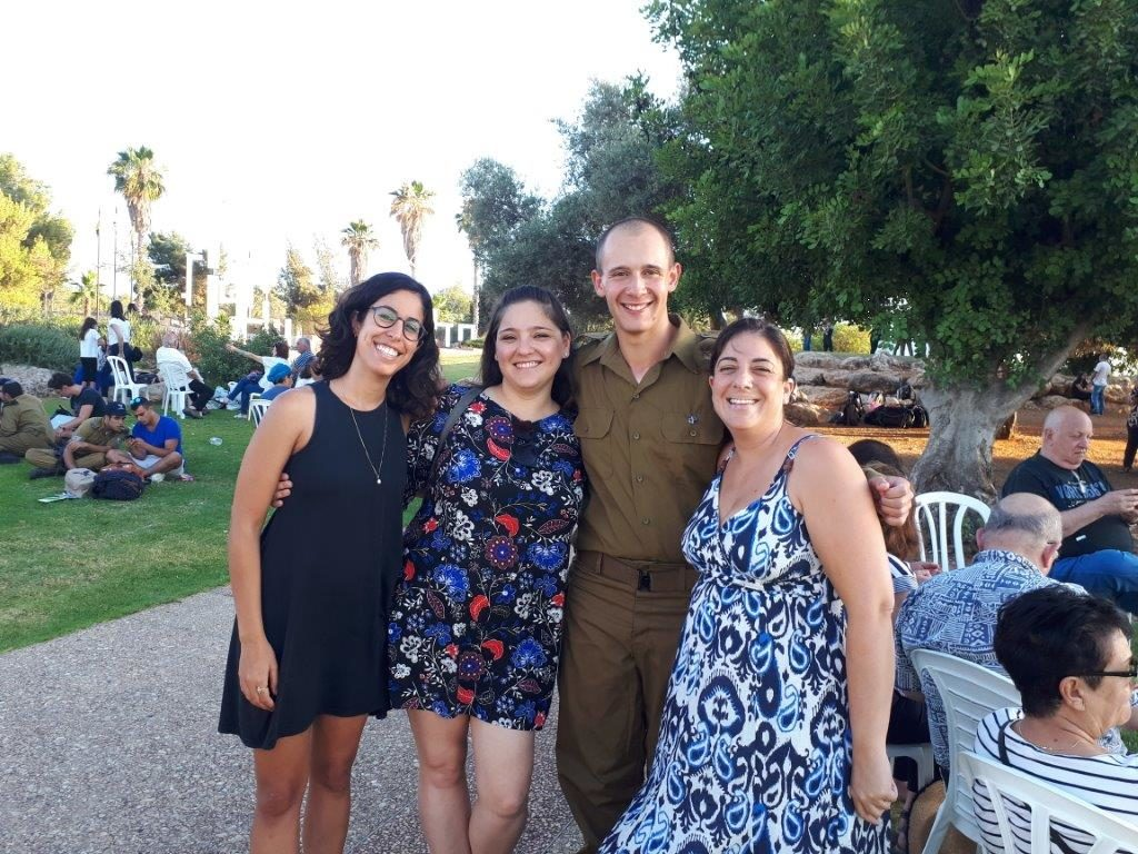 With Netzer graduate, now Israeli citizen, Ben Crome, second from right at his IDF Spokerpersons Unit ceremony in June 2018