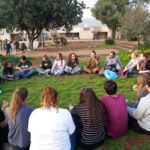 Netzer bogrim who have made aliyah and Shnat participants talking about Israel together, June 2018