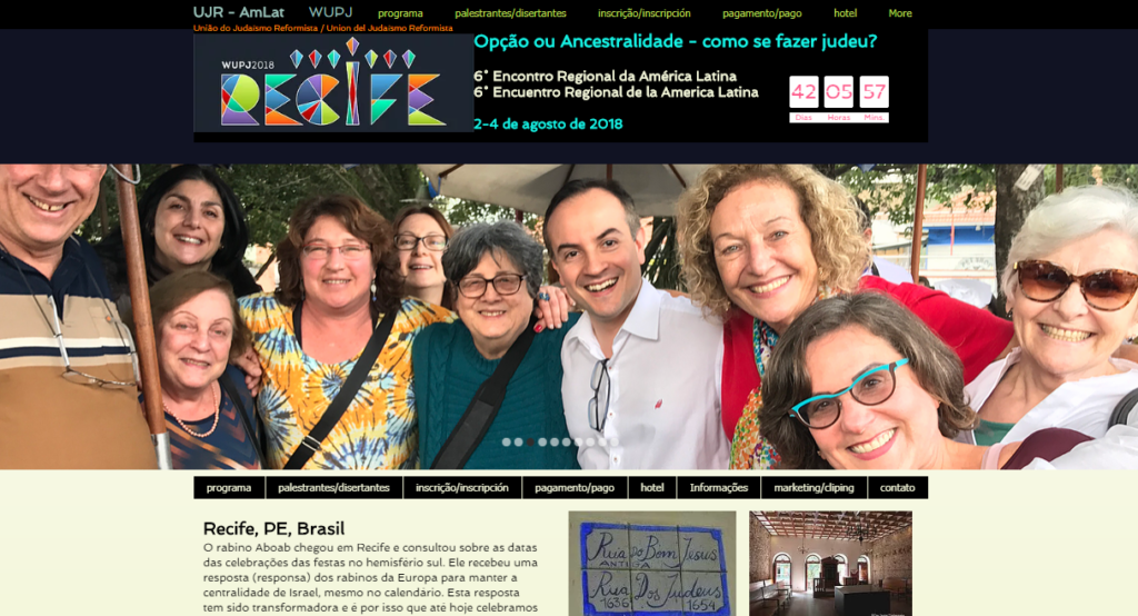 Screenshot from the UJR AmLat website promoting their 6th biennial conference August 2-4 in Recife Brazil