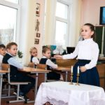 Children learning at the Third Pedagogical Conference in Gomel Belarus Jan 2019