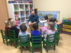 Pavel Kachkin with children celebrating Tu BShvat at Shaarei Shalom in St Petersburg, Russia