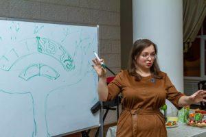 Daria Karyeva leads Tu BSvhat celebration at Shaarei Shalom in St Petersburg