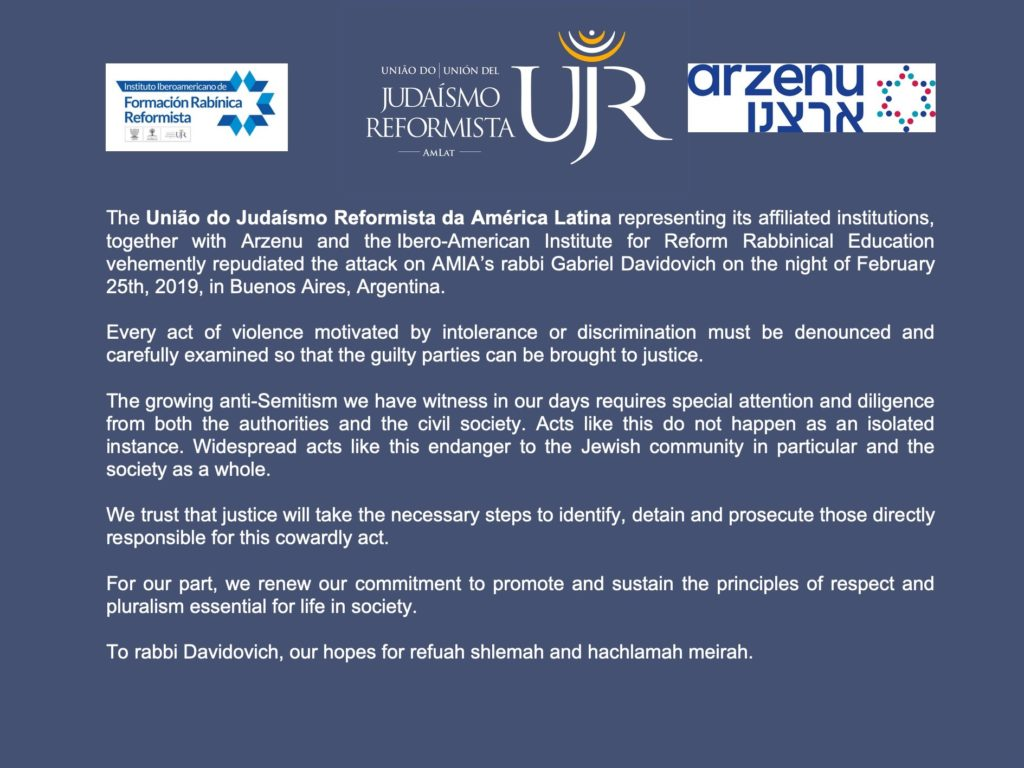 Statement from UJR Amlat on Antisemitic Attack Against Chief Rabbi Feb 2019 English