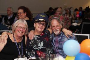 UPJ Treasurer Sally Castle (centre) with Sue and David Esterman (Temple Sinai, Wellington)